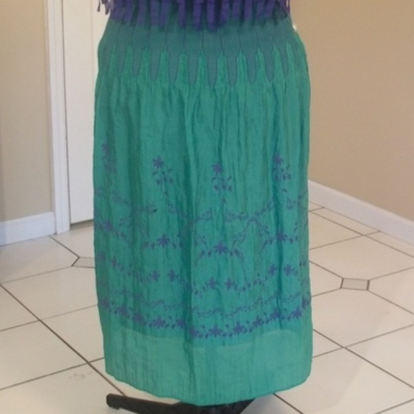 Lapis Dresses & Skirts - Jewel Green and Blue High Cinch-Waist Maxi Skirt